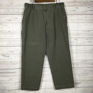 LL Bean Men Flannel Lined Cotton Pants 38×29 Green